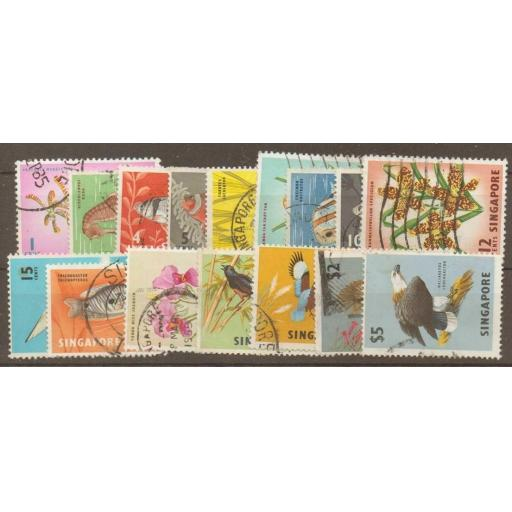 SINGAPORE SG63/77 1962-6 DEFINITIVE SET USED
