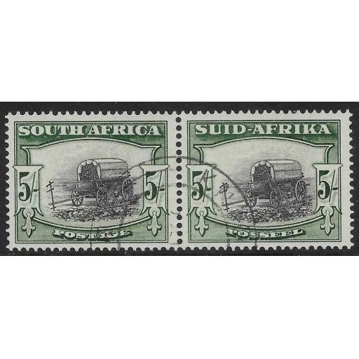 SOUTH AFRICA SG122b 1954 5/= BLACK & DEEP YELLOW-GREEN USED