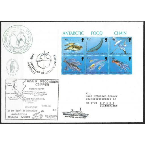BRITISH ANTARCTIC TERR. SG250a 1994 ANTARCTIC FOOD CHAIN SHTLT ON SOUVENIR CVR