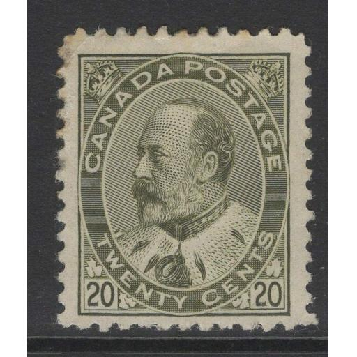 CANADA SG185 1904 20c PALE OLIVE-GREEN MTD MINT WEAK CORNER UPPER LEFT