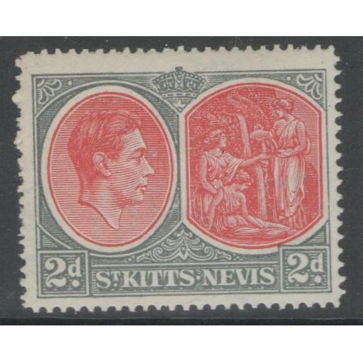 ST.KITTS-NEVIS SG71ba 1942 2d SCARLET & DEEP GREY MTD MINT