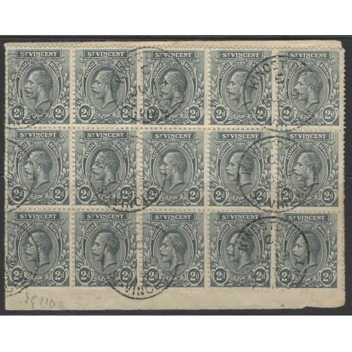 ST.VINCENT SG110 1913 2d GREY FINE USED BLOCK OF 15 ON PIECE