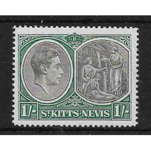 ST.KITTS-NEVIS SG75ca 1950 1/= BLACK & GREEN p14 BREAK IN VALUE TABLET MTD MINT