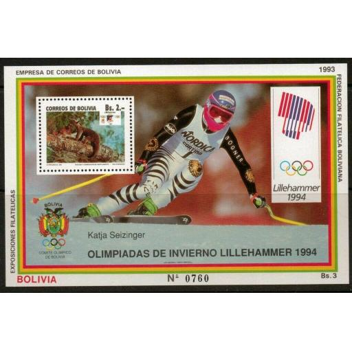 BOLIVIA Mi BL206 1993 WINTER OLYMPIC GAMES MNH