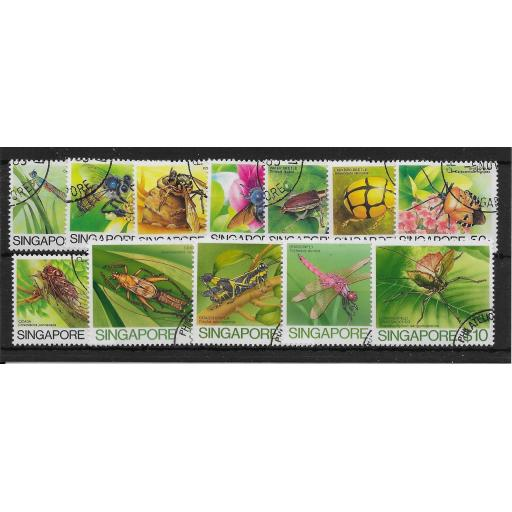 SINGAPORE SG491/502 1985 INSECTS DEFINITIVE SET USED