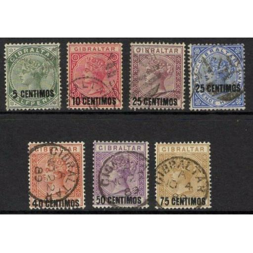 GIBRALTAR SG15/21 1889 SURCHARGE SET USED