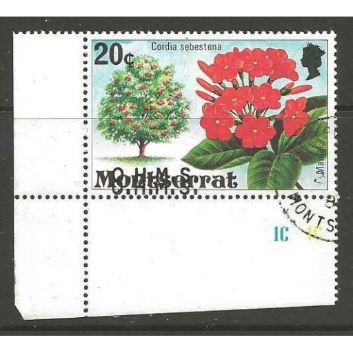 MONTSERRAT SGO20a 1980 20c FLOWERS WITH DOUBLE OVERPRINT FINE USED