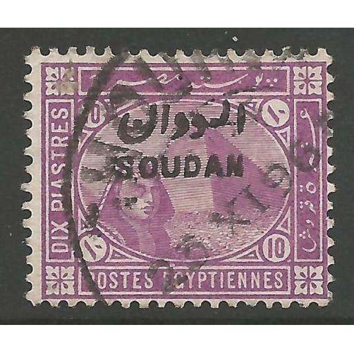 SUDAN SG9 1897 10p MAUVE USED.