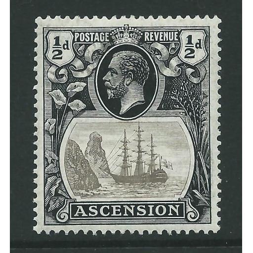 "ASCENSION SG10b 1924 ½d GREY-BLACK & BLACK ""TORN FLAG"" MTD MINT"