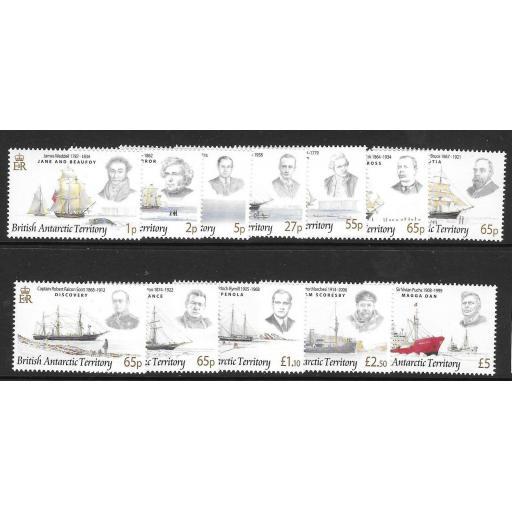 BRITISH ANTARCTIC TERR. SG461/72 2008 EXPLORERS & SHIPS MNH