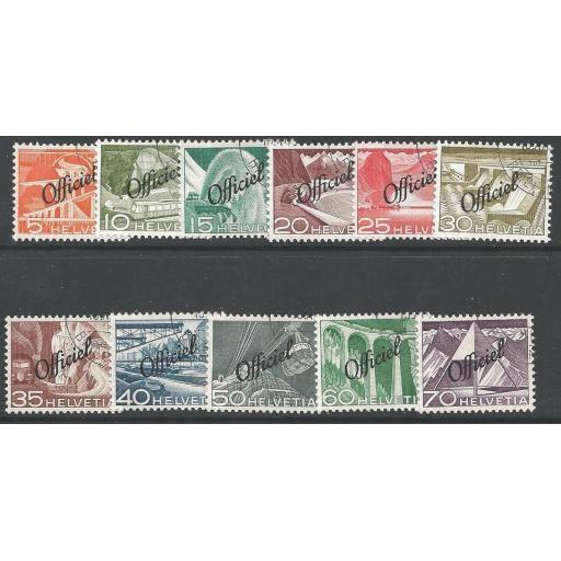 SWITZERLAND SGO522/32 1950 OFFICIAL SET FINE USED