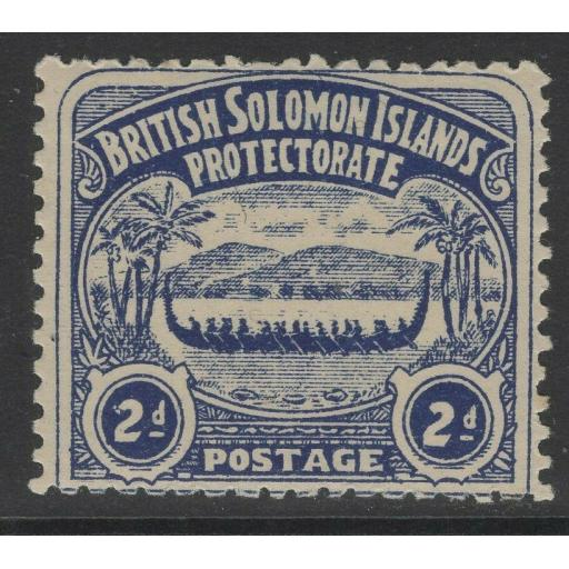 BRITISH SOLOMON IS. SG3 1907 2d INDIGO MTD MINT