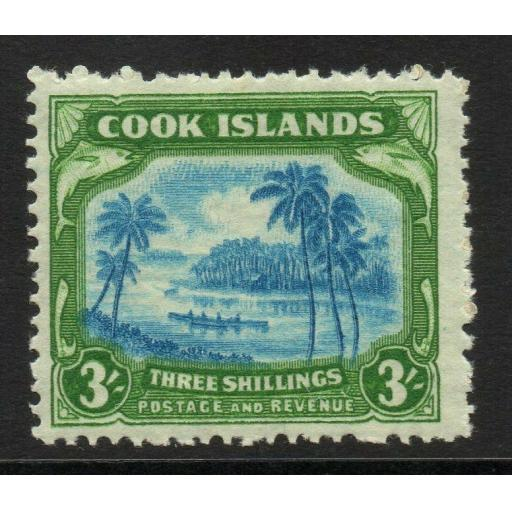 COOK ISLANDS SG145 1945 3/= LIGHT BLUE & EMERALD-GREEN MTD MINT