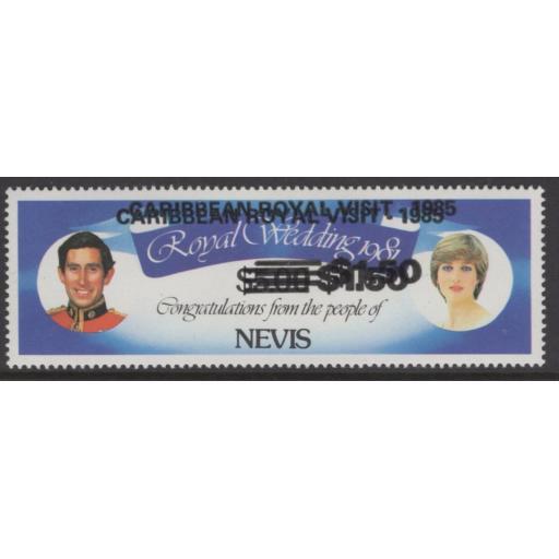 NEVIS SG346var 1985 $1.50 ROYAL VISIT OVERPRINT DOUBLE MNH
