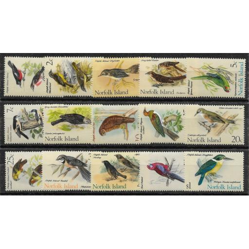 NORFOLK ISLAND SG103/17 1970-1 BIRDS DEFINITIVE SET MNH