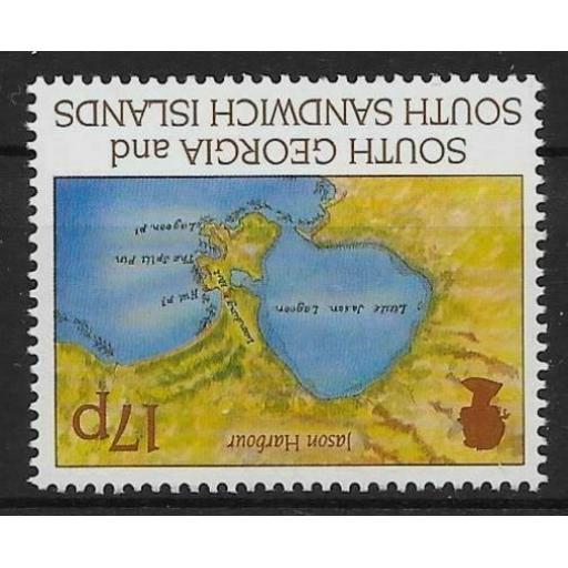 S.GEORGIA & S.SANDWICH IS. SG251w 1994 FIRST VOYAGE 17p WMK CROWN TO RIGHT MNH