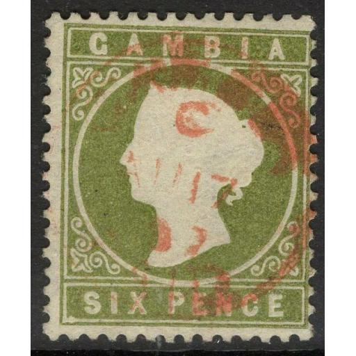 "GAMBIA SG32a 1886 6d YELLOWISH OLIVE-GREEN ""SLOPING LABEL"" FINE USED"