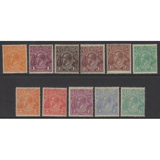 AUSTRALIA SG56/66 1918 DEFINITIVE SET MTD MINT