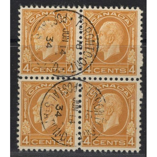 CANADA SG322 1932 4c YELLOW-BROWN FINE USED BLOCK OF 4