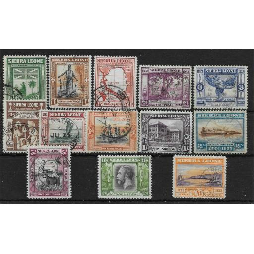 SIERRA LEONE SG168/80 1933 WILBERFORCE SET USED