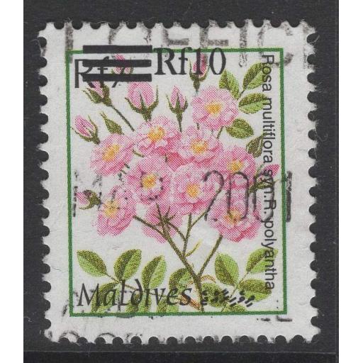 MALDIVE ISLANDS SG3460a 2001 10r on 7r SURCHARGE FINE USED