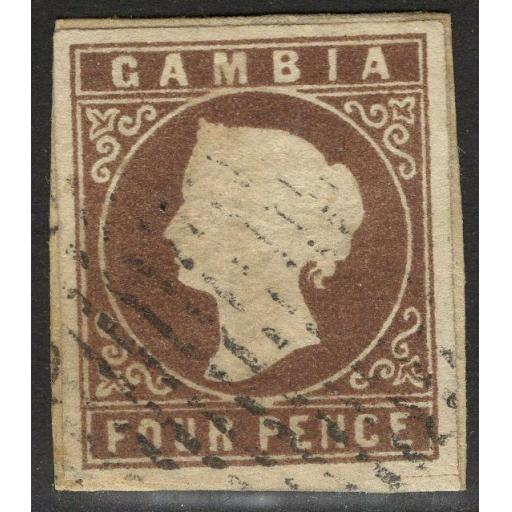 GAMBIA SG6 1874 4d PALE BROWN FINE USED ON PIECE