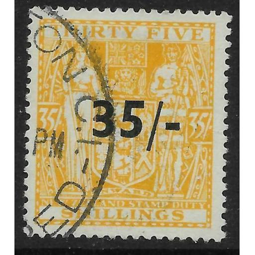 NEW ZEALAND SGF186 1939 35/= ON 35/= ORANGE-YELLOW ARMS USED