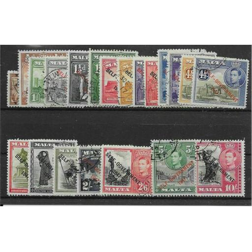 MALTA SG234/48 1948-53 SELF-GOVERNMENT DEFINITIVE SET USED