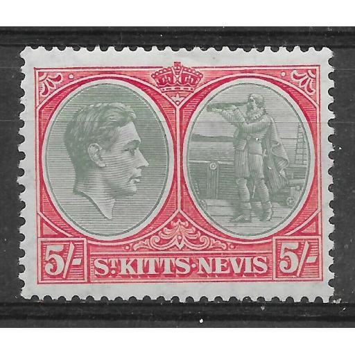 ST.KITTS-NEVIS SG77 1938 5/= GREY-GREEN & SCARLET MTD MINT