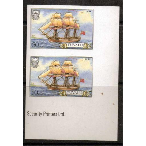 TUVALU SG379 1986 50c SHIP IMPERF PAIR MNH