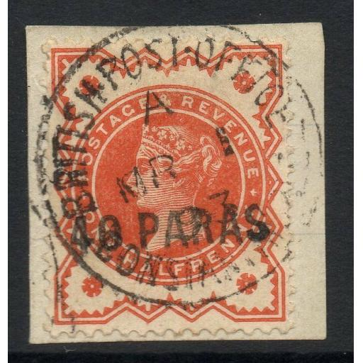 BRITISH LEVANT SG7 1893 40pa on ½d VERMILION USED ON PIECE