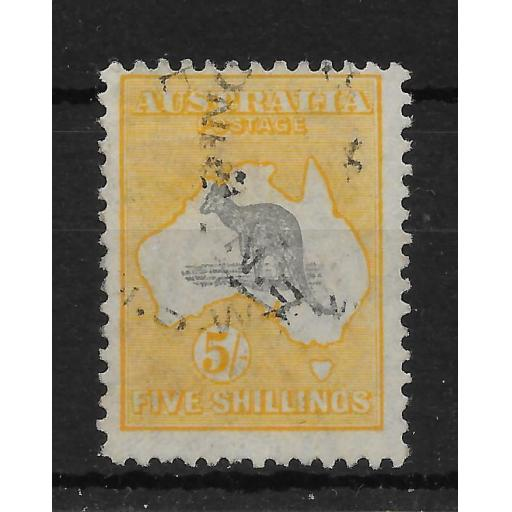 AUSTRALIA SG111 1929 5/= GREY & YELLOW USED