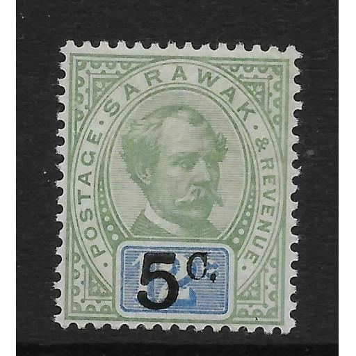 SARAWAK SG25 1891 5c ON 12c GREEN & BLUE MTD MINT