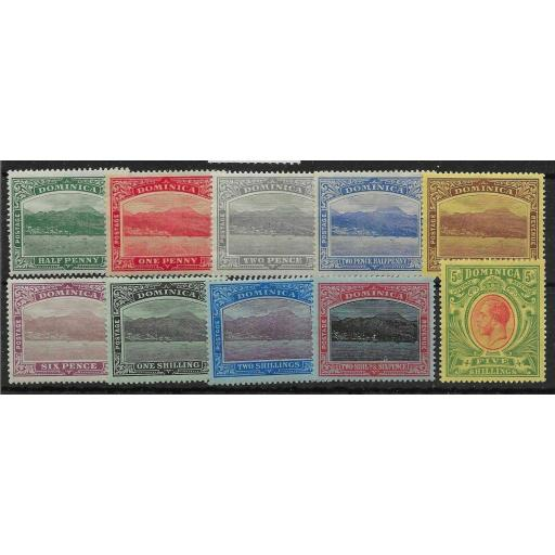 DOMINICA SG47/54 1908-20 DEFINITIVE SET MTD MINT