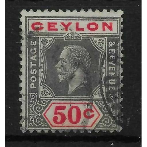 CEYLON SG353a 1932 50c BLACK & SCARLET DIE I USED