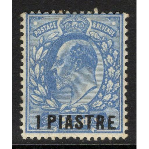 BRITISH LEVANT SG25 1911 1pi on 2½d BRIGHT BLUE MTD MINT