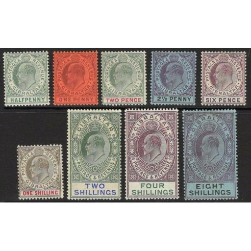 GIBRALTAR SG46/54 1903 WMK CROWN CA SET TO 8/- MTD MINT