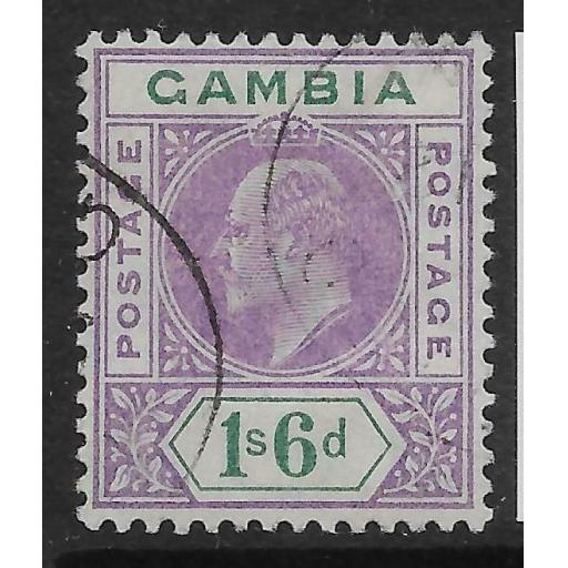 GAMBIA SG82 1909 1/6 VIOLET & GREEN USED