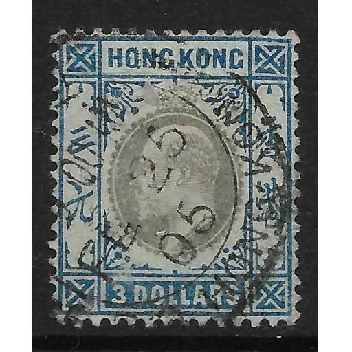 HONG KONG SG74 1903 $3 SLATE & DULL BLUE USED