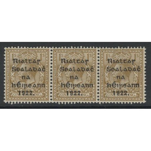 "IRELAND SG43(HIB.V25) 1922 1/- BISTRE-BROWN ALL SHOWING ""R OVER Se"" 2xMNH 1xMTD"
