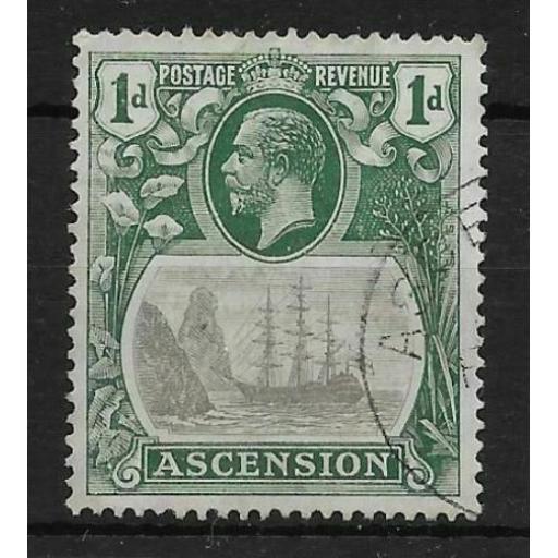 ASCENSION SG11c 1924 1d GREY-BLACK & DEEP BLUE-GREEN CLEFT ROCK USED