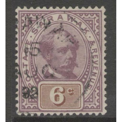 SARAWAK SG13 1888 6c PURPLE & BROWN FINE USED