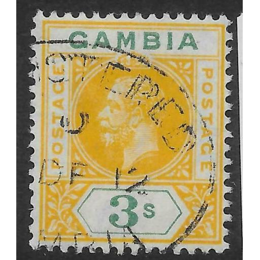 GAMBIA SG101 1912 3/= YELLOW & GREEN USED