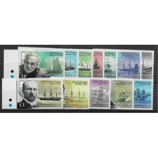 S.GEORGIA & S.SANDWICH IS. SG631/42 2015 SHIPS & EXPLORERS DEFINITIVE SET MNH