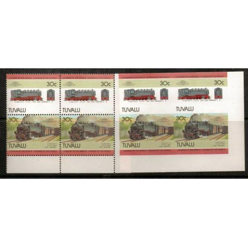 TUVALU SG317/8 1985 30c RAILWAY IMPERF PAIR MNH