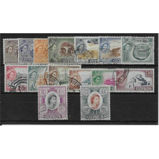 CYPRUS SG173/87 1955-60 DEFINITIVE SET USED