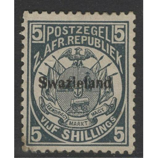 SWAZILAND SG8 1890 5/= SLATE-BLUE p12½ SMALL STAIN MTD MINT WITH CERTIFICATE