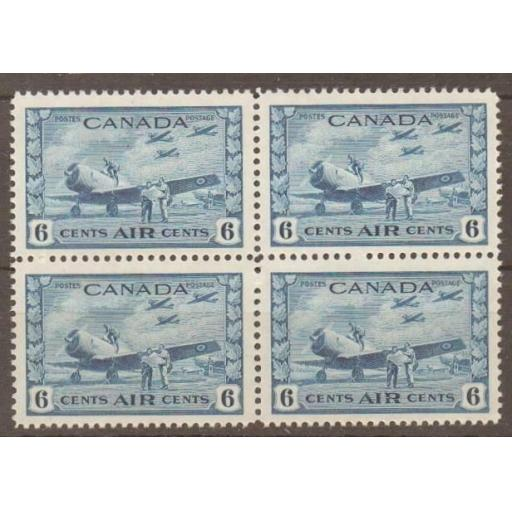 CANADA SG399 1942 6c BLUE MNH BLOCK OF 4