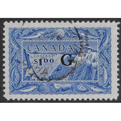 CANADA SGO192 1951 $1 ULTRAMARINE OFFICIAL USED