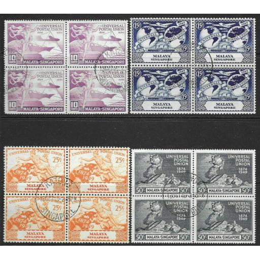 SINGAPORE SG33/6 1949 U.P.U. SET USED BLOCKS OF 4